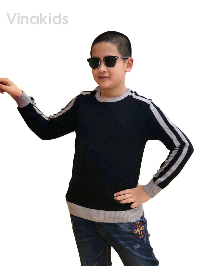 Áo len bé trai thể thao màu đen