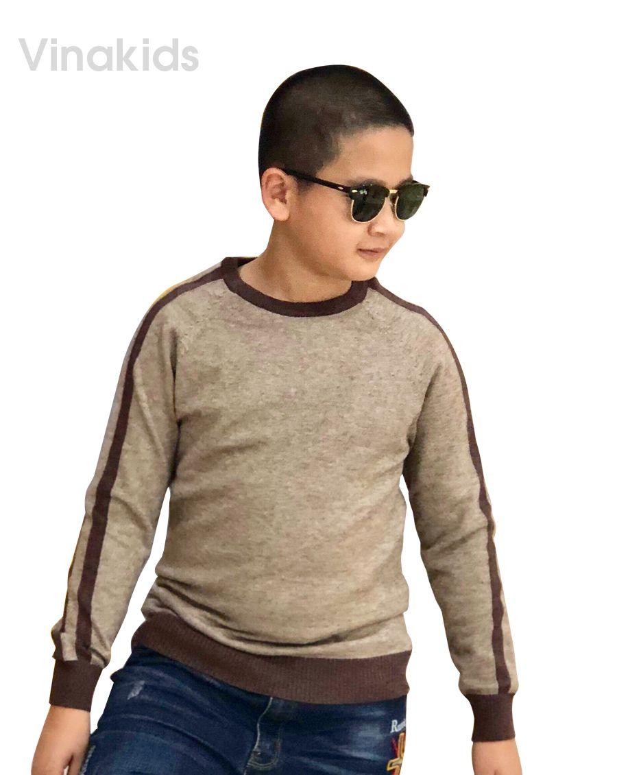 Áo len bé trai thể thao màu nâu đất