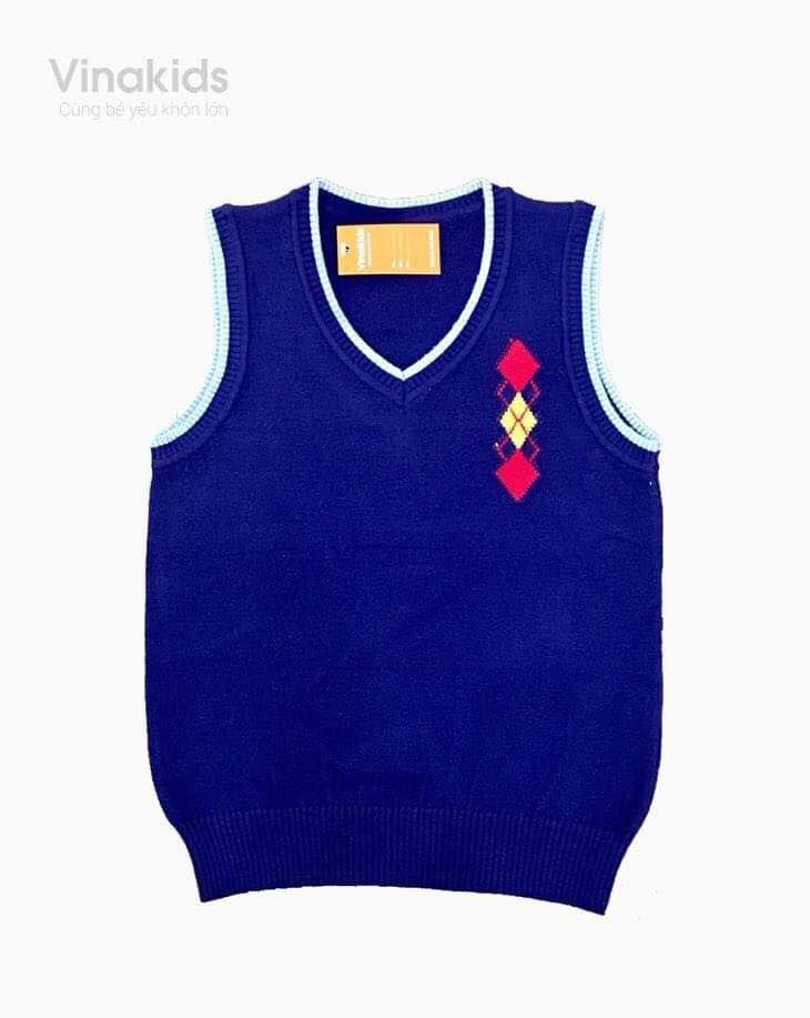 Áo len gile hình logo màu tím than size 2-10