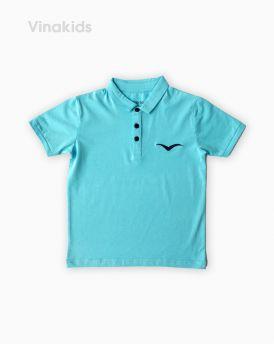 Áo kiểu dáng polo bé trai thêu logo Vinakids màu xanh ngọc size 8-12 tuổi