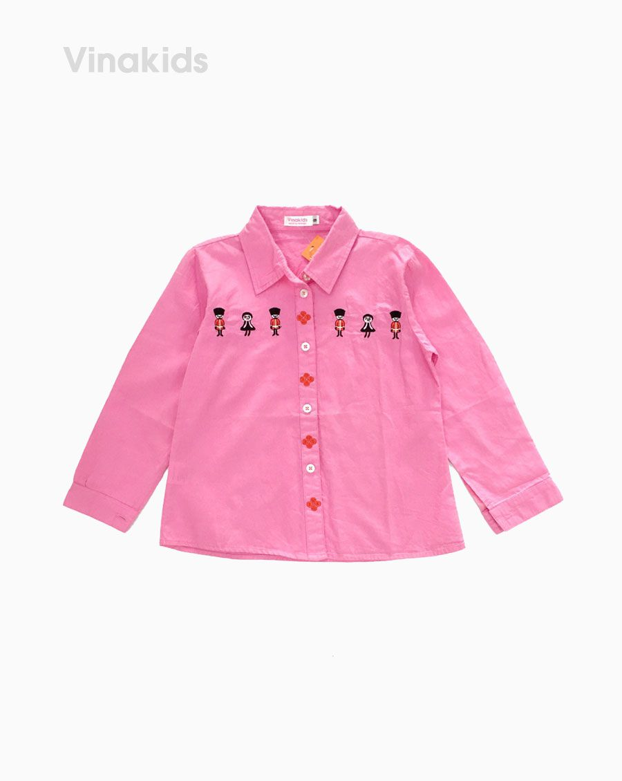 Áo sơ mi bé gái dài tay màu hồng (6-9 tuổi)