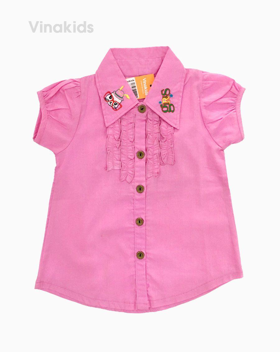 Áo sơ mi bé gái size nhí màu hồng phấn