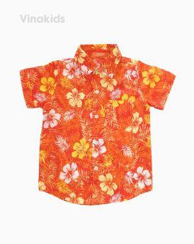 Áo sơ mi bé trai hoa lá màu vàng cam (1-7 Tuổi)