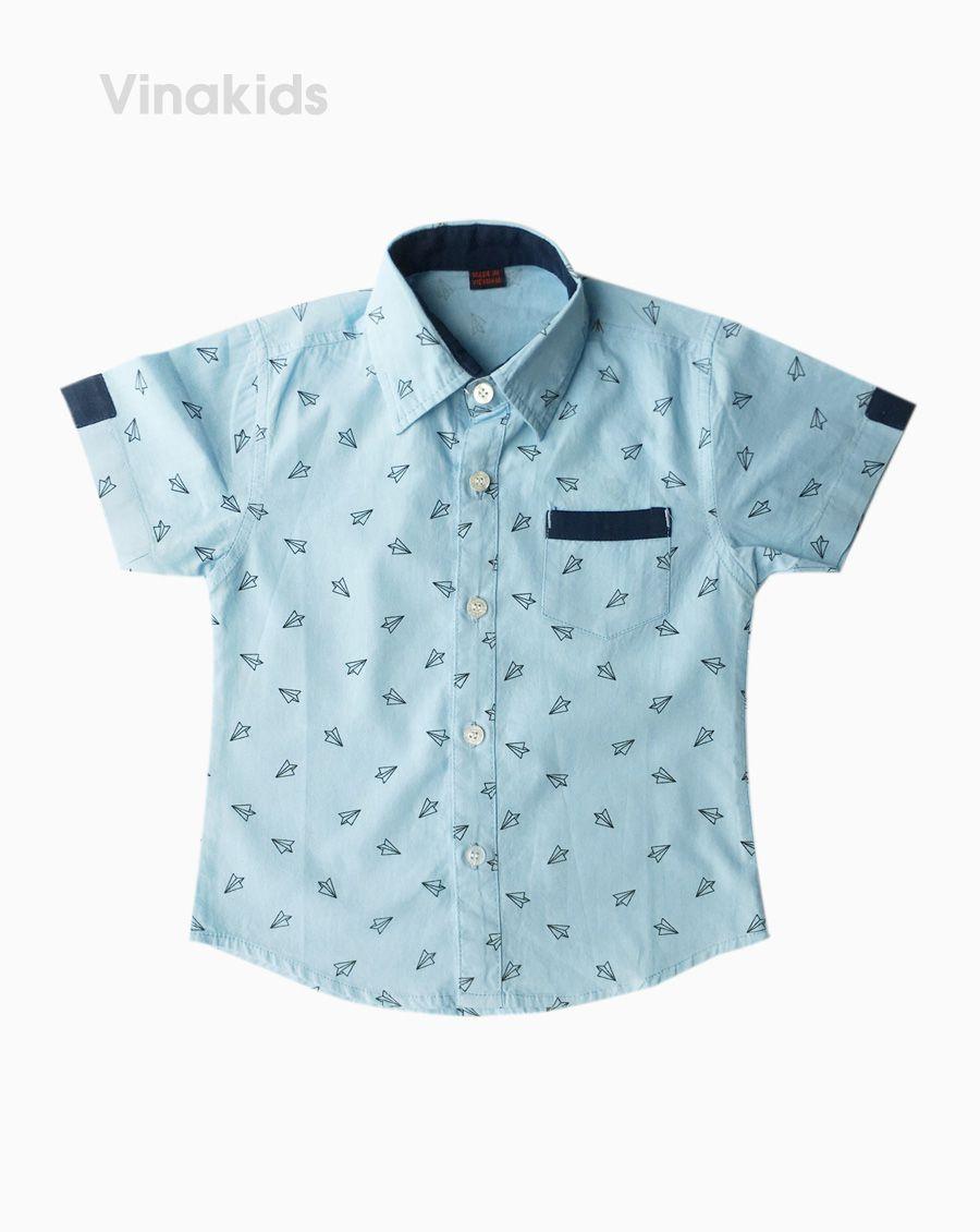 Áo sơ mi bé trai ngắn tay phối túi màu xanh (1-5 tuổi)