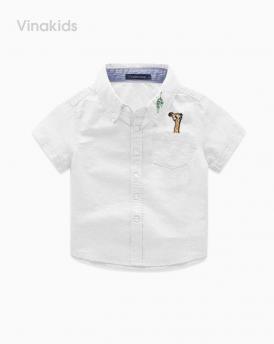 Áo sơ mi bé trai vải for cotton cao cấp màu trắng kem size nhí