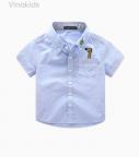 Áo sơ mi bé trai vải for cotton cao cấp màu xanh ngọc size đại