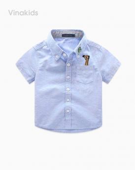 Áo sơ mi bé trai vải for cotton cao cấp màu xanh ngọc size nhí