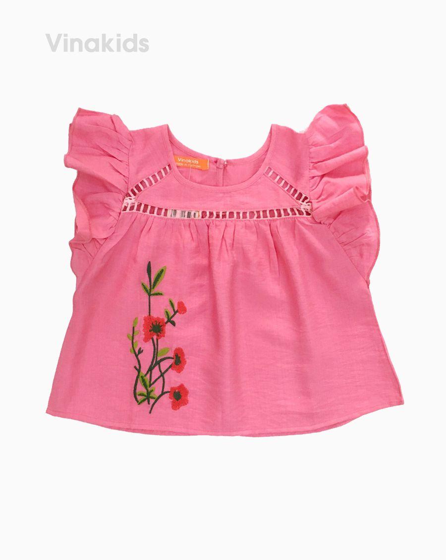 Áo sơ mi đũi bé gái thêu hoa màu hồng (7-10 Tuổi)