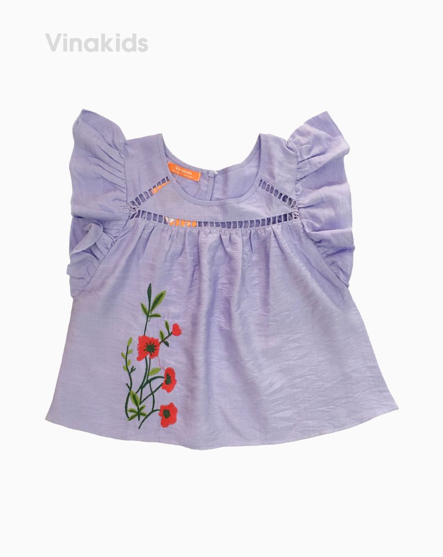 Áo sơ mi đũi bé gái thêu hoa màu tím (1-7 Tuổi)