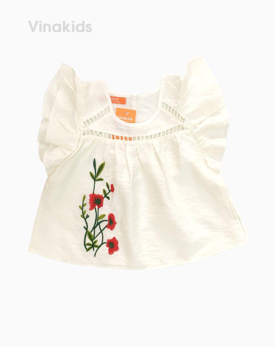 Áo sơ mi đũi bé gái thêu hoa màu trắng (1-7 Tuồi)