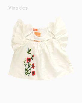 Áo sơ mi đũi bé gái thêu hoa màu trắng (7-10 Tuổi)