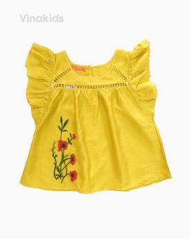 Áo sơ mi đũi bé gái thêu hoa màu vàng (1-7 Tuồi)