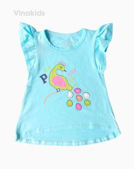 Áo thun bé gái cánh tiên hình chim Cook màu xanh (1-6 tuổi)