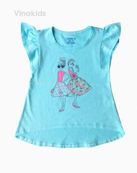 Áo thun bé gái cánh tiên hình hai cô gái màu xanh (6-10 tuổi)