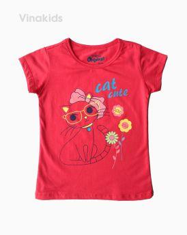 Áo thun bé gái ngắn tay Cat cute màu hồng đào (1-6 tuổi)