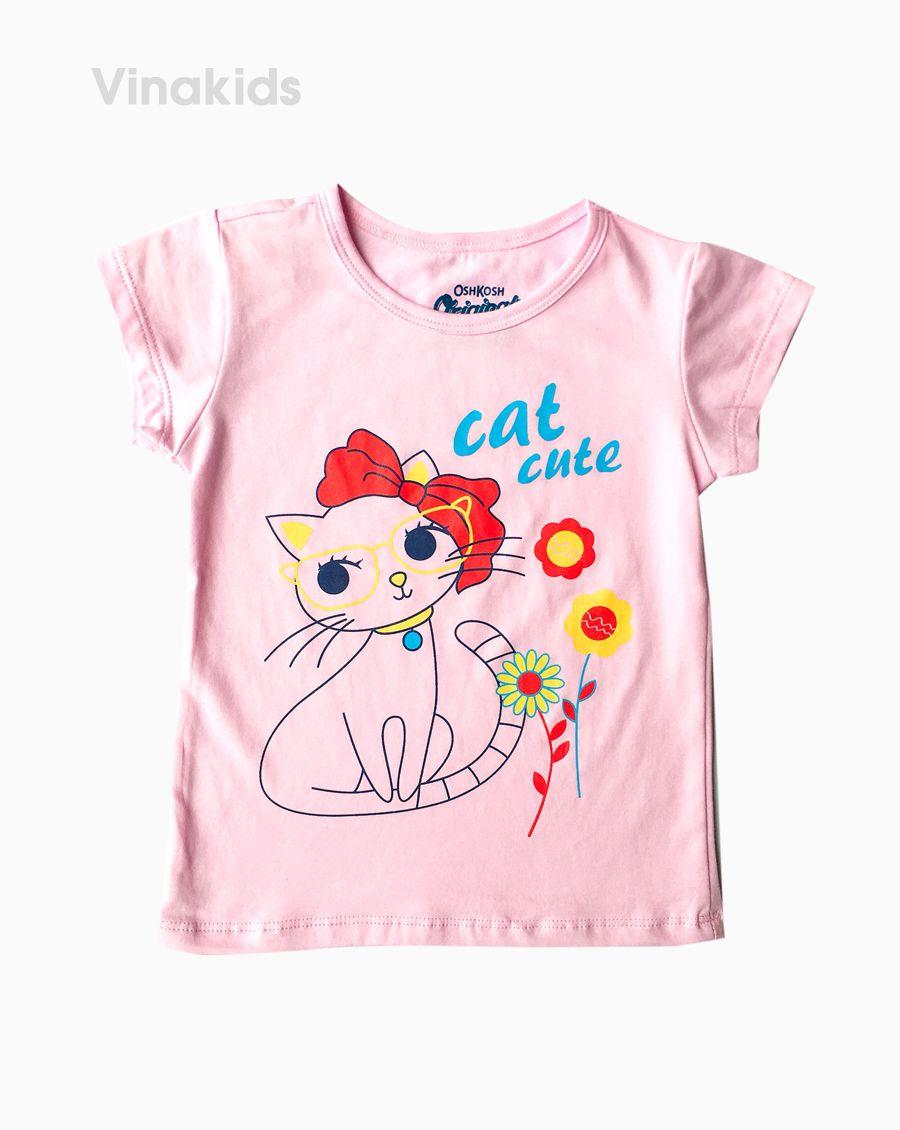 Áo thun bé gái ngắn tay Cat cute màu hồng phấn (1-6 tuổi)