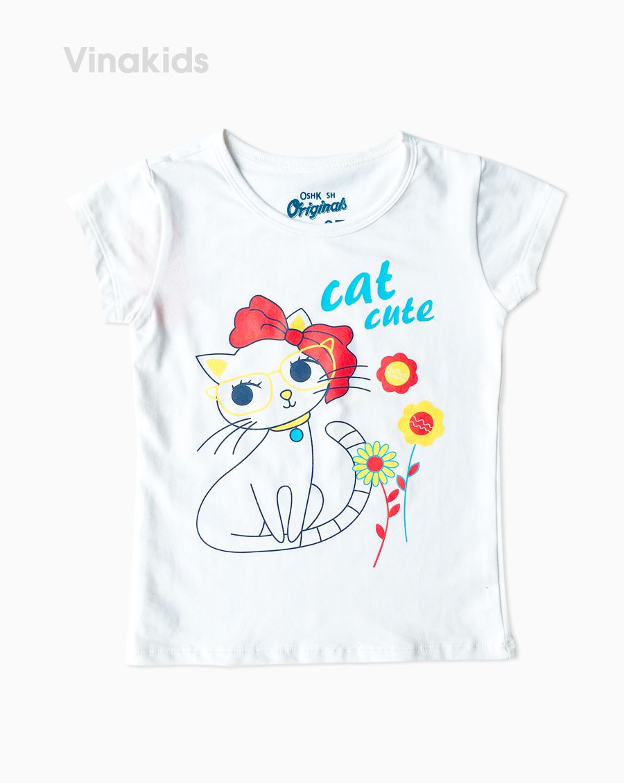 Áo thun bé gái ngắn tay Cat cute màu trắng (1-6 tuổi)