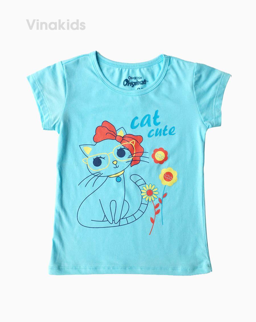 Áo thun bé gái ngắn tay Cat cute màu xanh (1-6 tuổi)