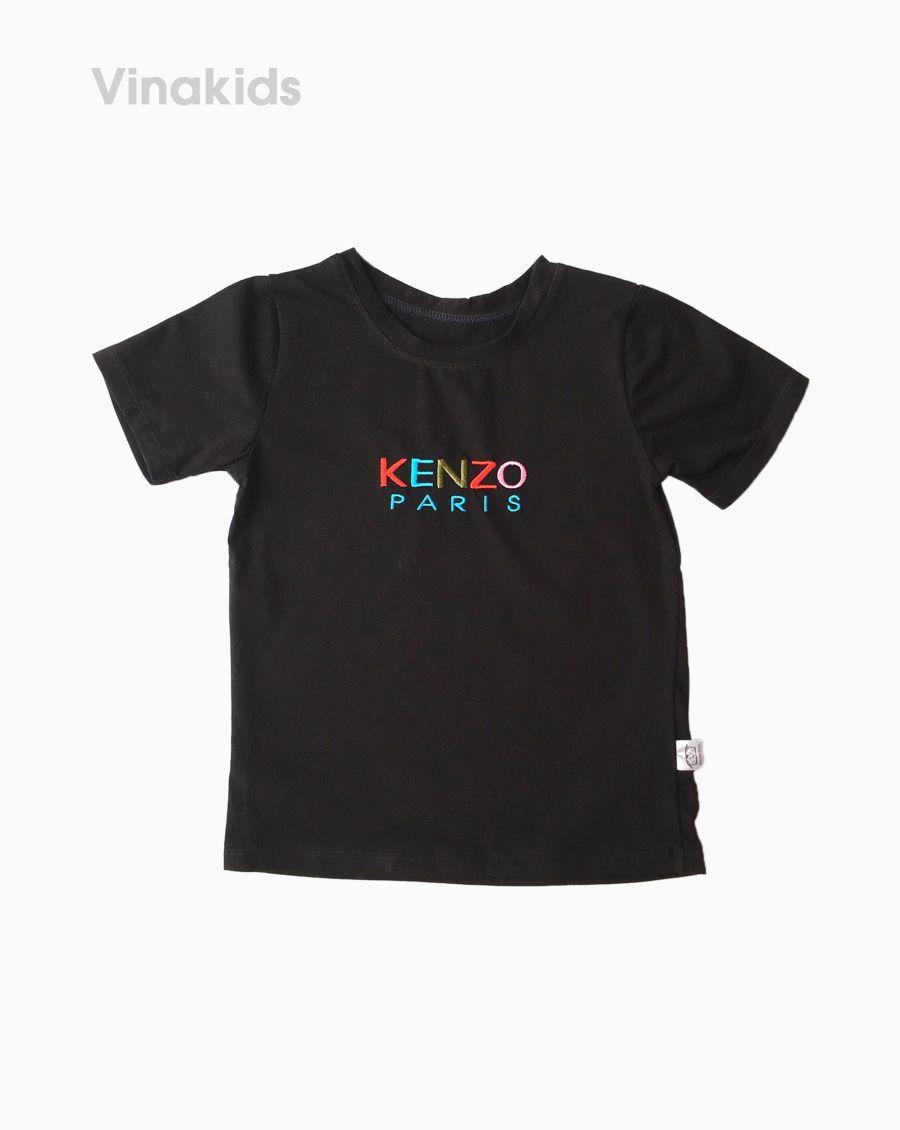 Áo thun bé gái ngắn tay Kenzo màu đen (7-10 tuổi)