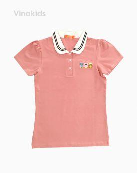 Áo thun bé gái thêu chim cú mèo màu hồng (7 tuổi đến 12 tuổi)