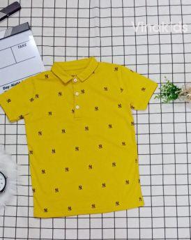 Áo thun bé trai cổ bẻ màu Vàng (33-50kg)