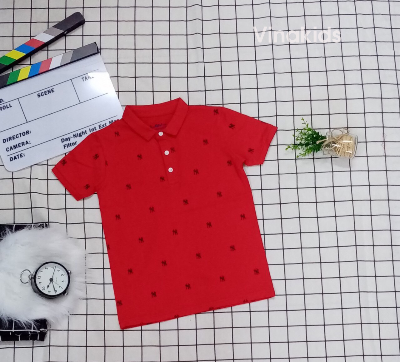 Áo thun bé trai cổ bẻ màu đỏ (33-50kg)