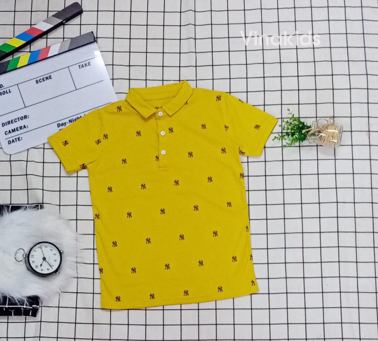 Áo thun bé trai cổ bẻ màu vàng (10-21kg)