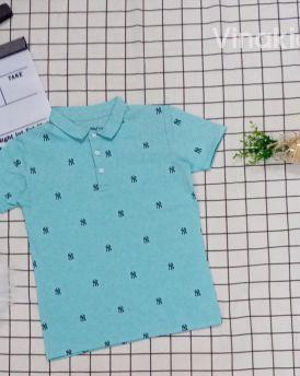 Áo thun bé trai cổ bẻ màu xanh (33-50kg)