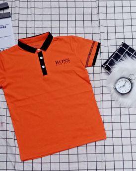 Áo thun bé trai cổ trụ Boss màu cam (40kg-60kg)