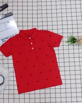 Áo thun bé trai cổ trụ màu đỏ (22kg-30kg)