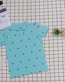 Áo thun bé trai cổ trụ màu xanh ngọc (22kg-30kg)