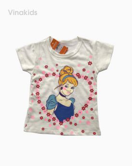 Áo thun cotton ngắn tay bé gái hình cô gái màu trắng (1-7 tuổi)