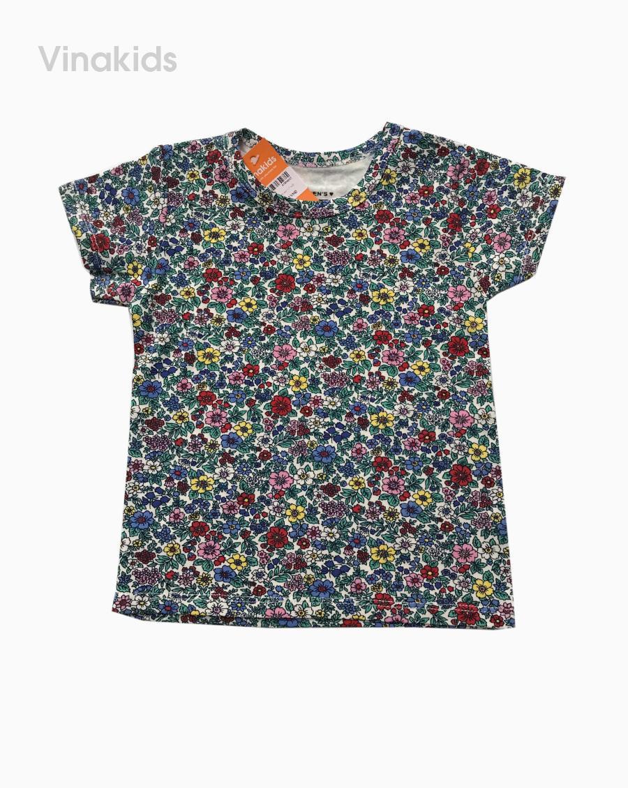 Áo thun cotton ngắn tay bé gái hình hoa màu xanh (1-7 tuổi)