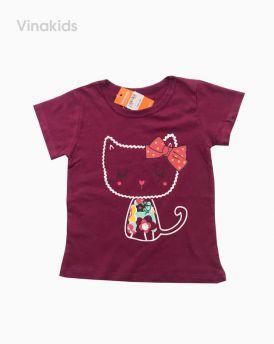 Áo thun cotton ngắn tay bé gái hình mèo màu đỏ (1-7 tuổi)
