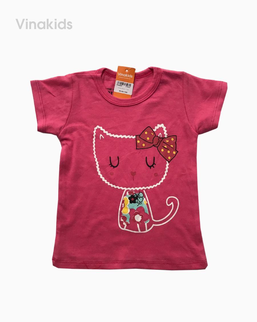 Áo thun cotton ngắn tay bé gái hình mèo màu hồng (1-7 tuổi)