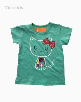 Áo thun cotton ngắn tay bé gái hình mèo màu xanh (1-7 tuổi)