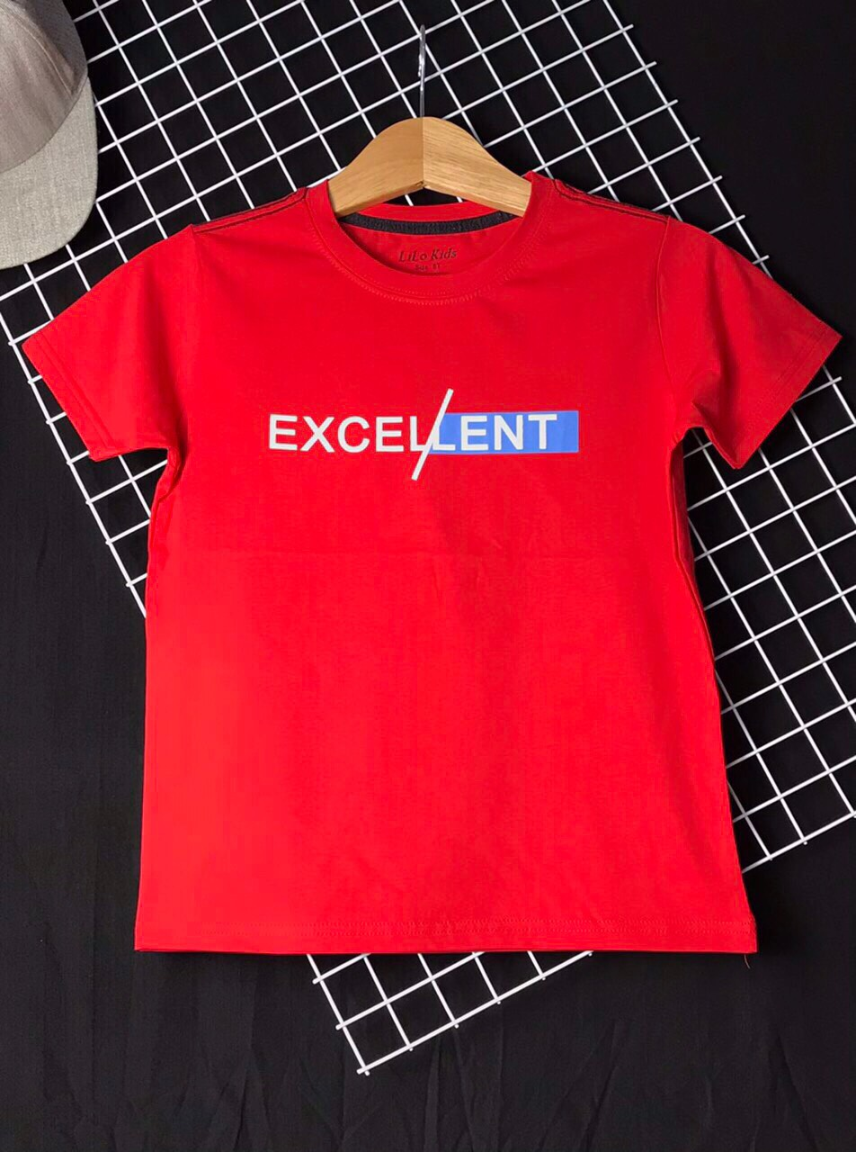 Áo thun cotton bé trai EX màu đỏ cỡ (25kg - 45kg)