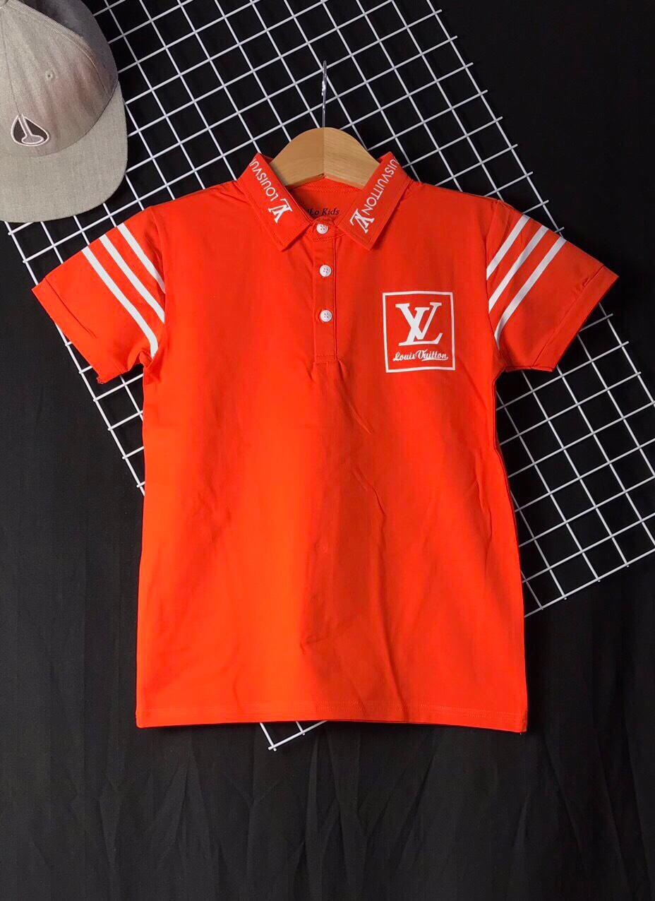 Áo thun cotton bé trai LV màu cam( 25kg-45kg)