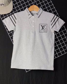 Áo thun cotton bé trai LV màu ghi( 25kg-45kg)