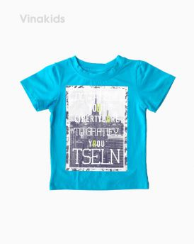Áo thun cotton bé trai ngắn tay TSELN màu xanh ngọc (1-7 tuổi)