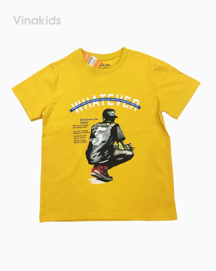 Áo thun cotton bé trai what màu vàng 25kg-45kg