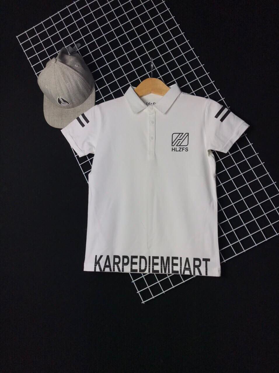 Áo thun cotton cổ trụ KA màu trắng (30kg-50kg)