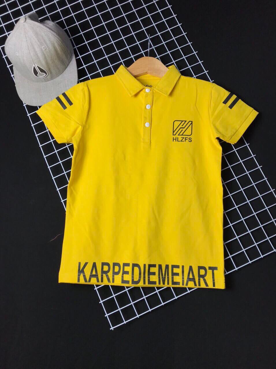 Áo thun cotton cổ trụ KA màu vàng 30kg-50kg