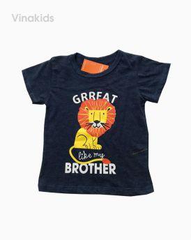 Áo thun cotton ngắn tay bé trai hình sư tử màu tím than (1-7 tuổi)