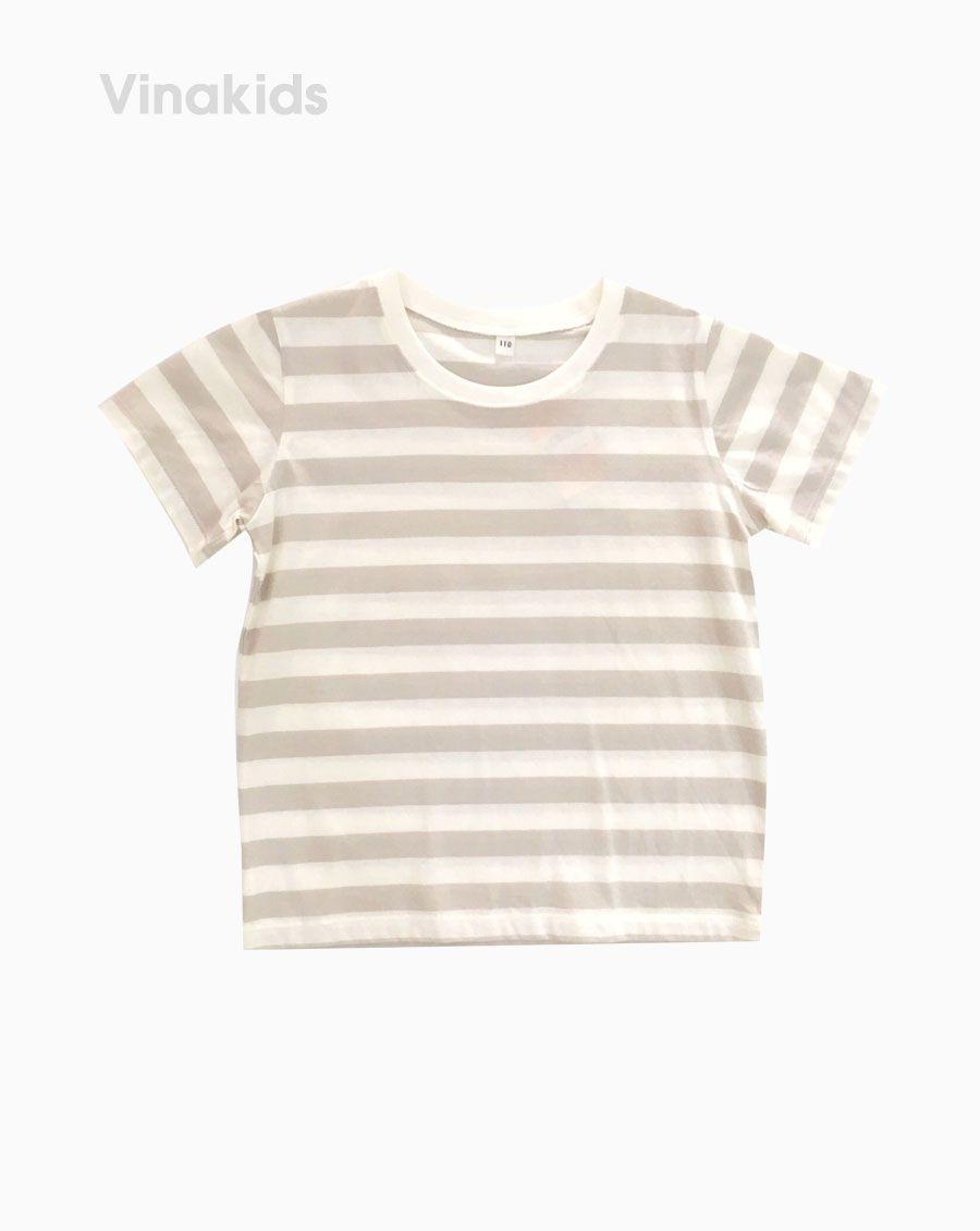 Áo thun ngắn tay bé gái kẻ màu kem ( 3-5 Tuổi)