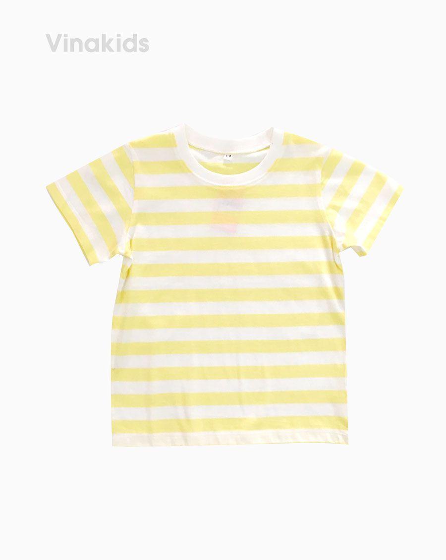 Áo thun ngắn tay bé gái kẻ màu vàng ( 3-5 Tuổi)