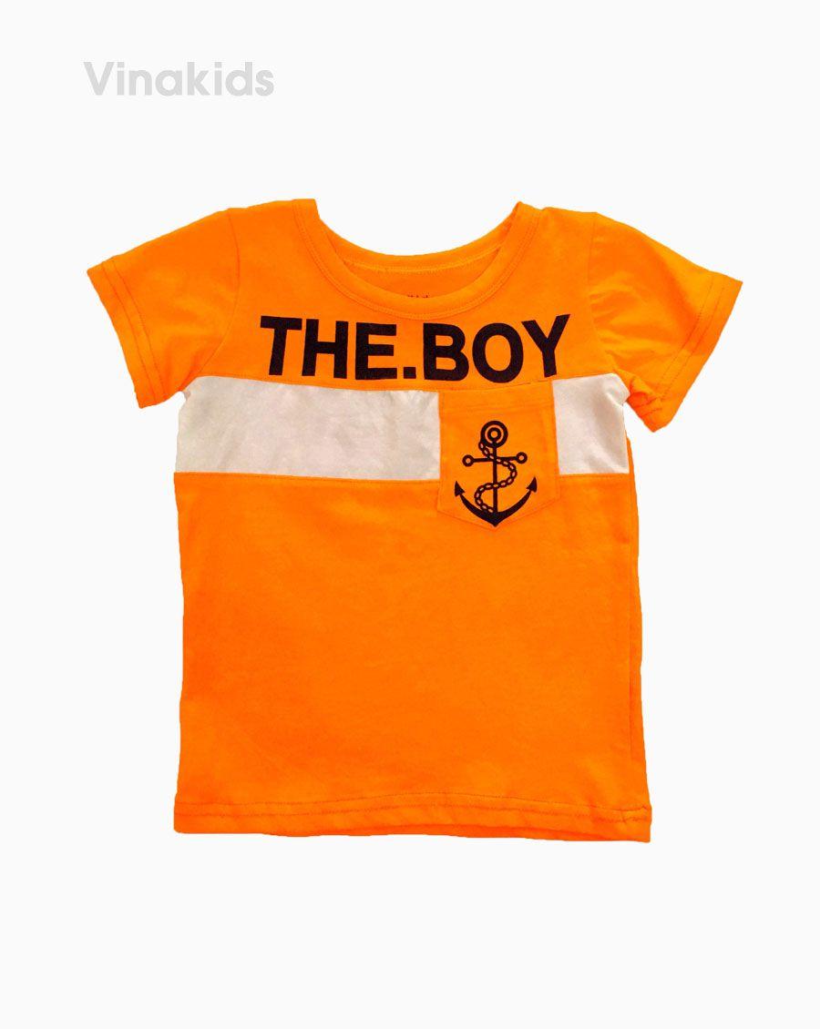 Áo thun ngắn tay bé trai THE BOY màu cam (2-6 Tuổi)