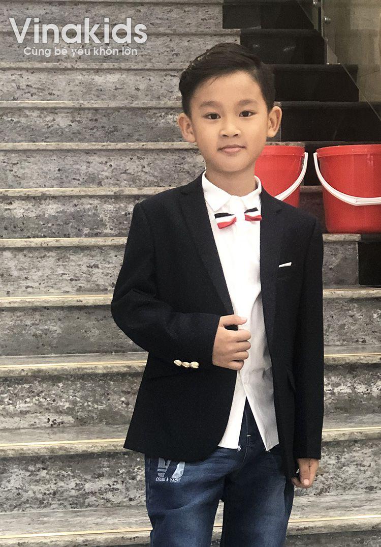 Áo vest bé trai họa tiết màu tím than  1-6 tuổi
