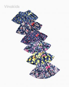 Chân váy bé gái vải thô kèm chíp hoa