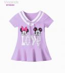 Đầm Mickey Love cổ tim màu tím